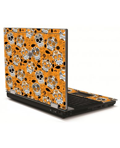 Orange Sugar Skulls HP 8540W Laptop Skin