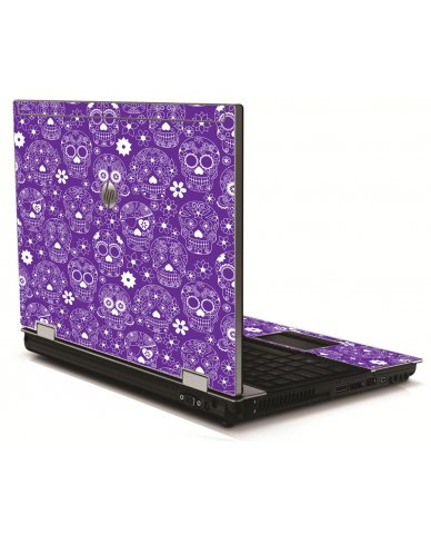 Purple Sugar Skulls HP 8540W Laptop Skin