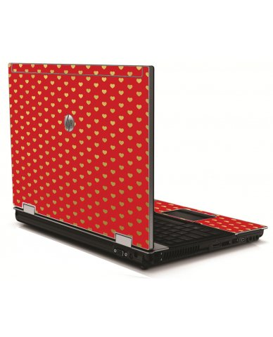 Red Gold Hearts HP 8540W Laptop Skin