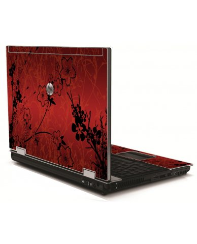 Retro Red Flowers HP 8540W Laptop Skin