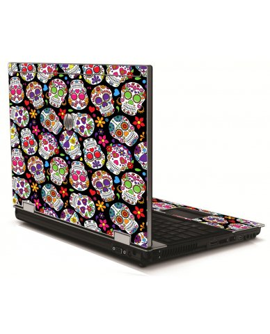 Sugar Skulls Black Flowers HP 8540W Laptop Skin