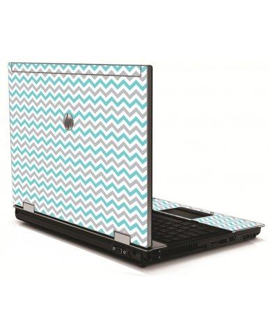 Teal Grey Chevron Waves HP 8540W Laptop Skin