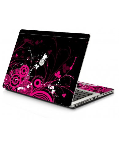 Black Pink Butterfly HP 9470M Laptop Skin