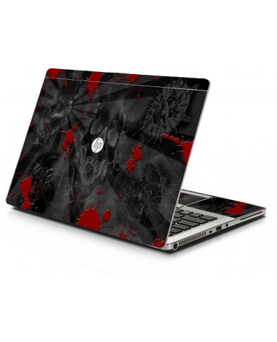 Black Skulls Red HP 9470M Laptop Skin