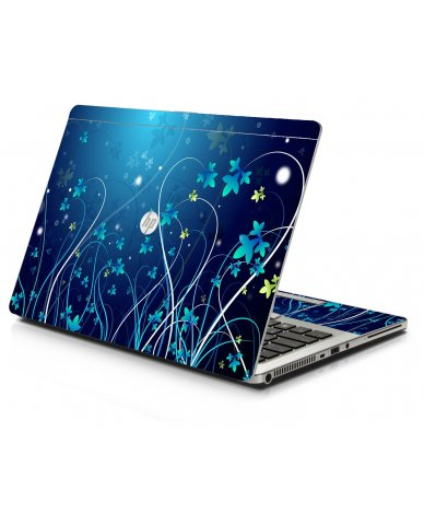 Blue Flowers HP 9470M Laptop Skin