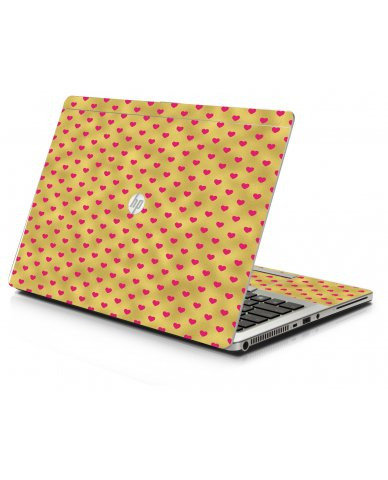 Gold Pink Hearts HP 9470M Laptop Skin