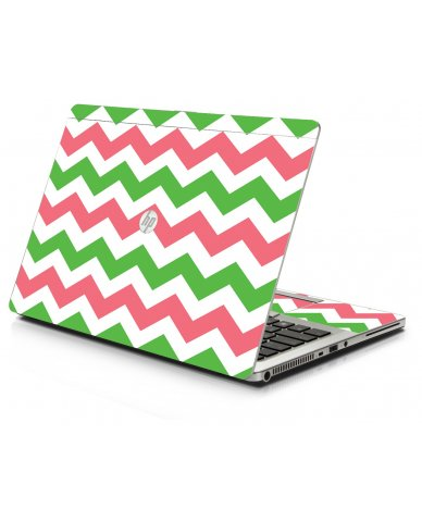 Green Pink Chevron HP 9470M Laptop Skin
