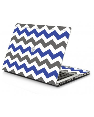 Grey Blue Chevron HP 9470M Laptop Skin