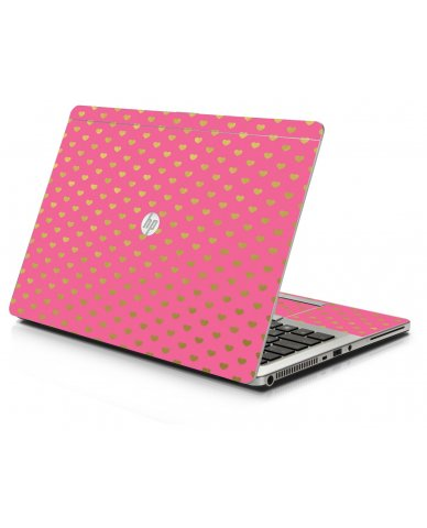Pink With Gold Hearts HP 9470M Laptop Skin
