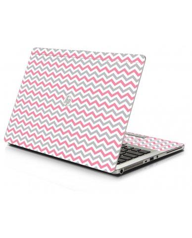 Pink Grey Chevron Waves HP 9470M Laptop Skin