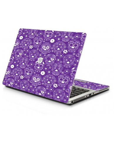 Purple Sugar Skulls HP 9470M Laptop Skin