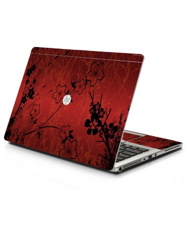 Retro Red Flowers HP 9470M Laptop Skin