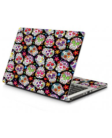 Sugar Skulls Black Flowers HP 9470M Laptop Skin