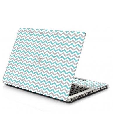 Teal Grey Chevron Waves HP 9470M Laptop Skin