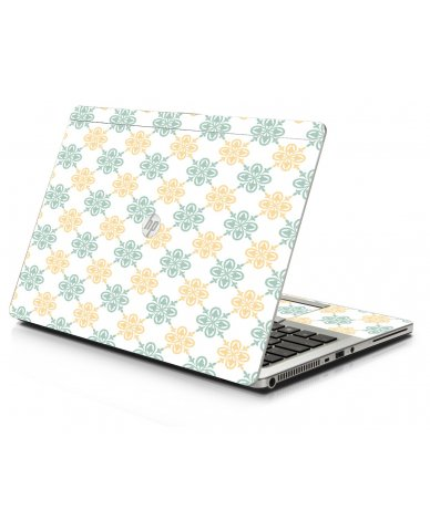 Yellow Green Flowers HP 9470M Laptop Skin