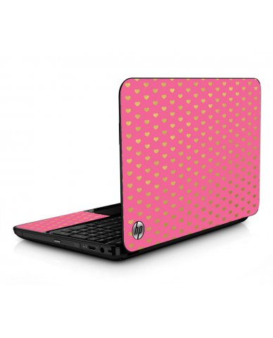 Pink With Gold Hearts HPG6 Laptop Skin