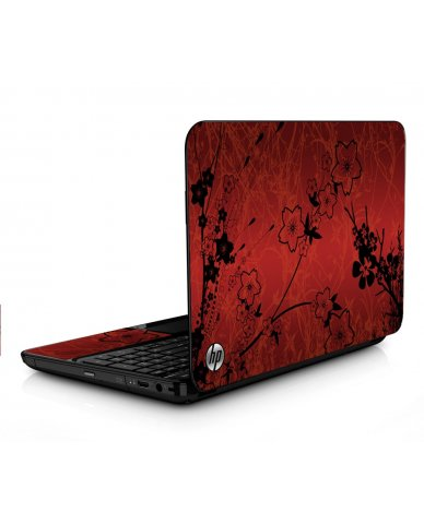 Retro Red Flowers HPG6 Laptop Skin