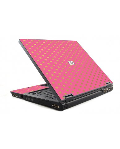 Pink With Gold Hearts HP NC6120 Laptop Skin