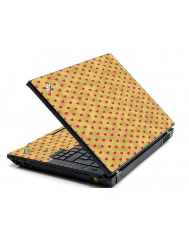 Gold Pink Hearts IBM L412 Laptop Skin