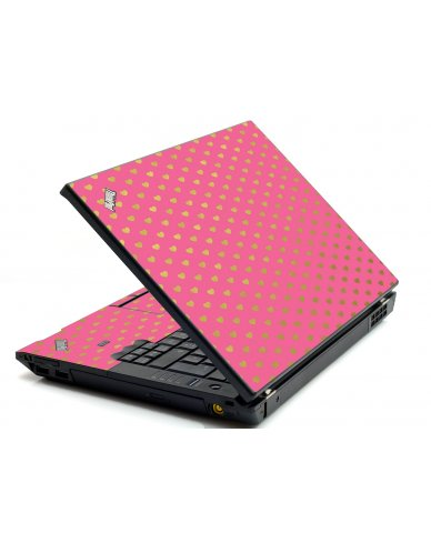 Pink With Gold Hearts IBM L412 Laptop Skin