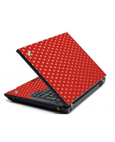 Red Gold Hearts IBM L412 Laptop Skin