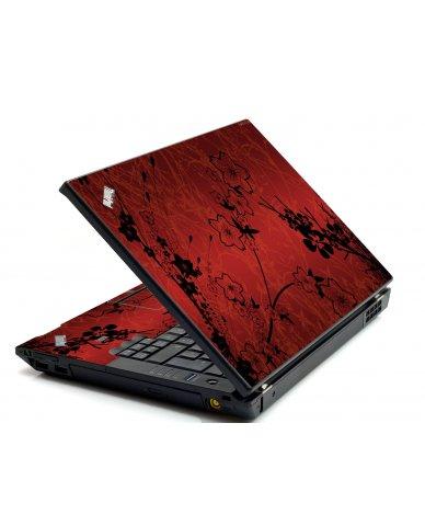 Retro Red Flowers IBM L412 Laptop Skin
