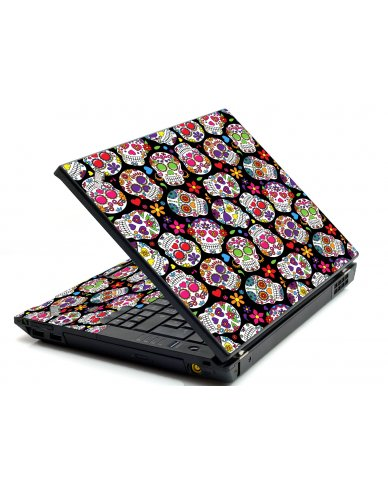 Sugar Skulls Black Flowers IBM L412 Laptop Skin