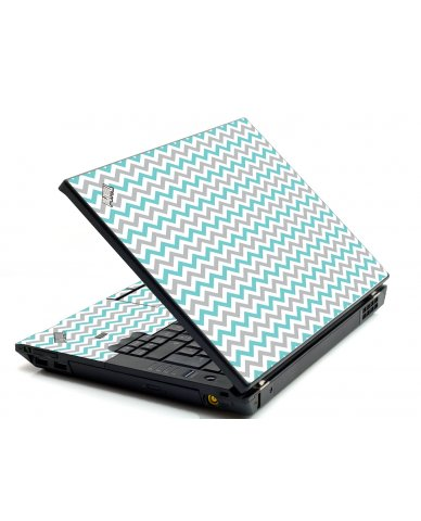 Teal Grey Chevron Waves IBM L412 Laptop Skin