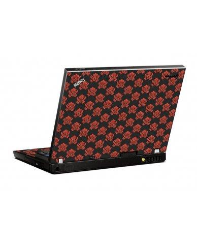 Black Flower Burst IBM T400 Laptop Skin