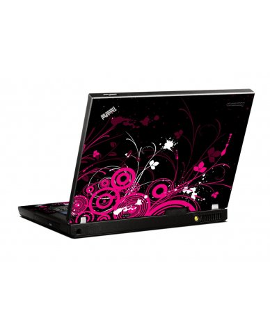 Black Pink Butterfly IBM T400 Laptop Skin