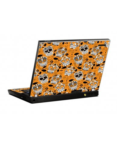 Orange Sugar Skulls IBM T400 Laptop Skin
