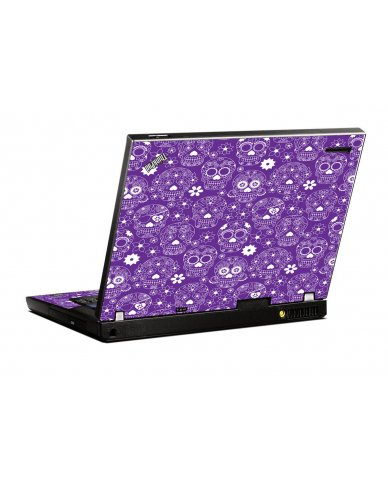 Purple Sugar Skulls IBM T400 Laptop Skin