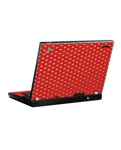 Red Gold Hearts IBM T400 Laptop Skin