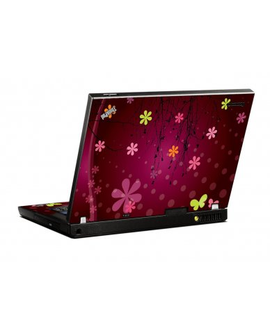 Retro Pink Flowers IBM T400 Laptop Skin