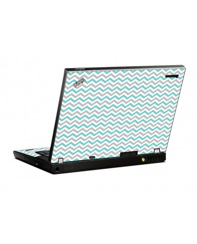 Teal Grey Chevron Wave IBM T400 Laptop Skin