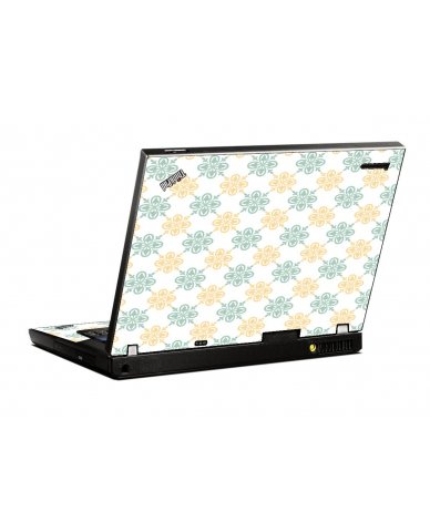 Yellow Green Flowers IBM T400 Laptop Skin
