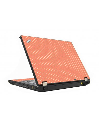 Coral Polka Dots IBM T410 Laptop Skin