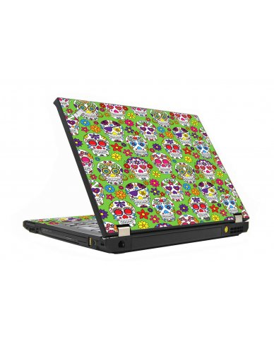 Green Sugar Skulls IBM T410 Laptop Skin