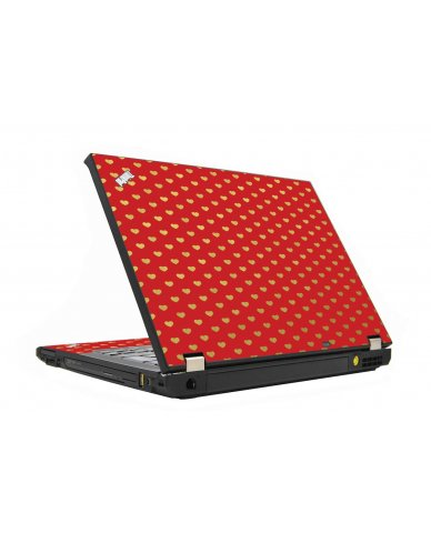Red Gold Hearts IBM T410 Laptop Skin