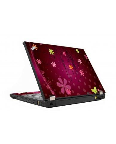 Retro Pink Flowers IBM T410 Laptop  Skin
