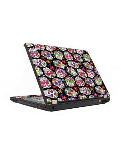 Sugar Skulls Black Flowers IBM T410 Laptop Skin