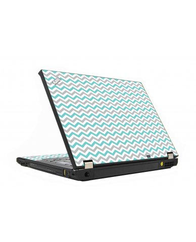 Teal Grey Chevron Waves IBM T410  Laptop Skin