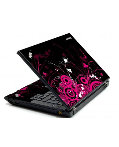 Black Pink Butterfly IBM T420 Laptop Skin