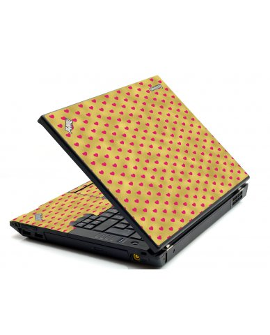 Gold Pink Hearts IBM T420 Laptop Skin