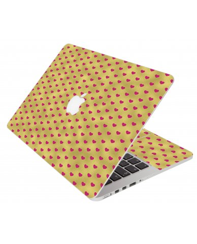 Gold Pink Hearts Apple Macbook Air 11 A1370 Laptop Skin
