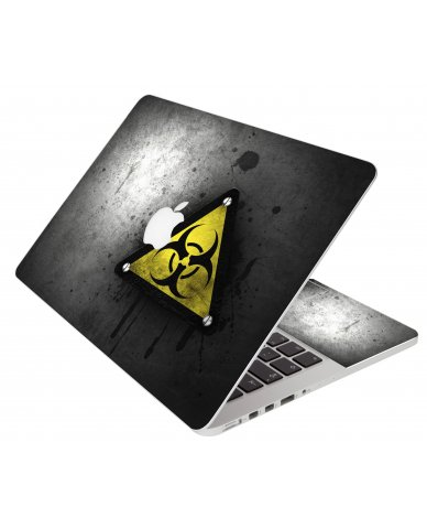 Black Caution Apple Macbook Air 13 A1466 Laptop Skin