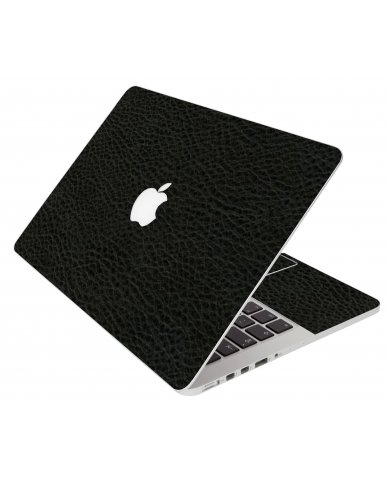 Black Leather Apple Macbook Air 13 A1466 Laptop Skin