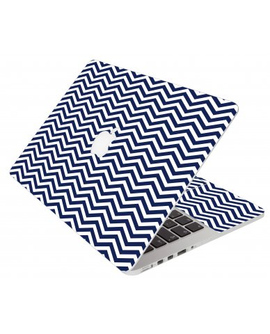 Blue Wavy Chevron Apple Macbook Air 13 A1466 Laptop Skin