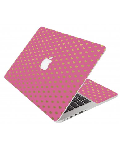 Pink With Gold Hearts Apple Macbook Air 13 A1466 Laptop  Skin