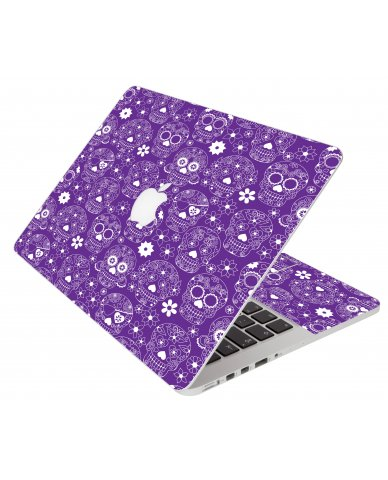Purple Sugar Skulls Apple Macbook Air 13 A1466 Laptop  Skin
